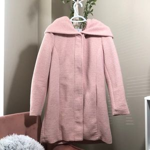 ONLY Long Mid-season Pink Coat with Hoodie